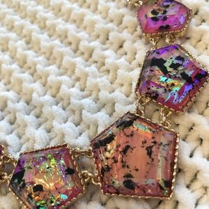 Iridescent Pink Statement Necklace w/ Earrings